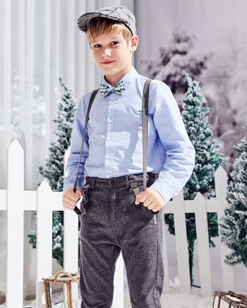男童学院长袖全棉白衬衫