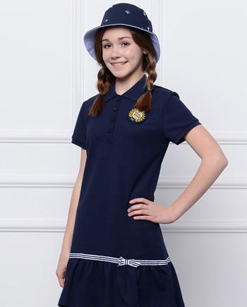 女童海军风短袖连衣裙