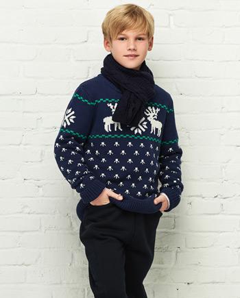 新款儿童小鹿图案套头毛衣