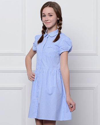 浅蓝英伦学院格子短袖连衣裙