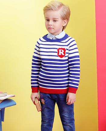 新品时尚条纹经典圆领毛衣